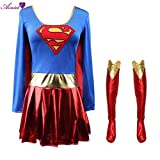 Hiwill Halloween Superman pour Cosplay Costume pour Adulte Supergirl superhéros Robe p