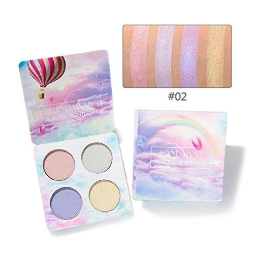 Cooljun Palette de surligneurs,Shimmer Poudre Illuminante Maquillage Satin Glow Kit Réorganiser votre visage Eye Lip 4 couleurs 3D soulignant Finition (B)
