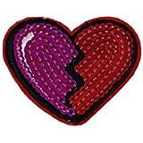 Parches - corazón roto con lentejuelas - rojo - 3,8x4,5cm - termoadhesivos bordados aplique para ropa