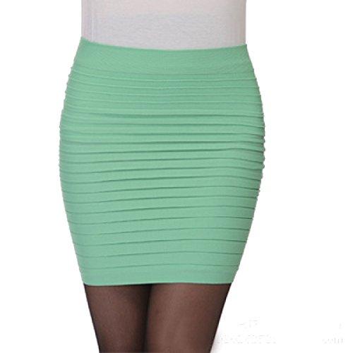 Ms. Estivi Gonne Di Colore Solido Dell'anca Del Pacchetto Multicolore Green