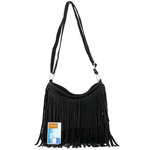 Borsa a mano borsa a tracolla shopping bag donna in vera pelle italiana T02 Schwarz