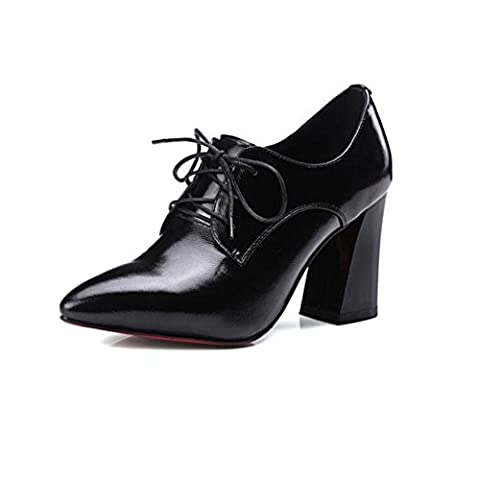 WYWQ Femmes Femmes Super Talons hauts Rough With Party Cross Straps Pointed Toe Bain superficiel Bright Patent Leather , 40