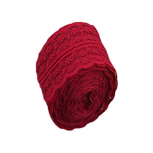 Nikgic 4,5 cm * 10 m Retro Sackleinenrolle Volltonfarbe Spitze Bekleidungszubehör DIY handgefertigte Materialien Kunsthandwerk (Rot)