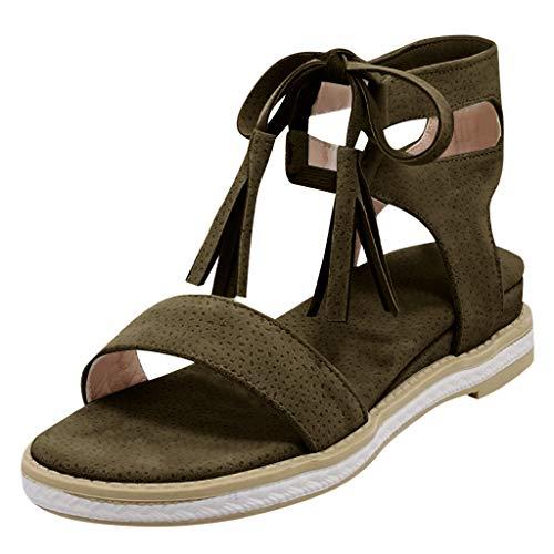 SHE.White Damen Sommer Schuhe Sandalen Plateau Sandaletten Flache Keilabsatz Wedges Schuhe Strandschuhe Riemchensandalen Flach Peep Toe Bequeme Sommerschuhe -