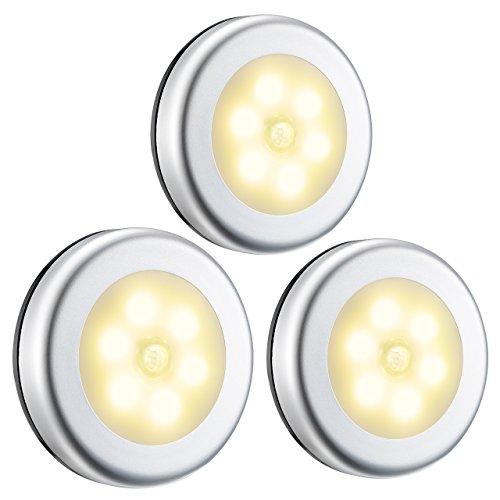 OMORC Luce Armadio LED [3 Pezzi] con Sensore Movimento Luce Notturna Senza Fili Automatiche, Luce Scale Wireless per Armadio Cucina Corridoio Camera da Letto Bagno Garage. Luce Calda