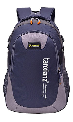 0e5aa7be0d4b TanXianZhe Unisex School Bag,Waterproof Lightweight Travel Casual Backpack  Bag in 7 Colours,19 x 12 x 6 inch(Navy blue)