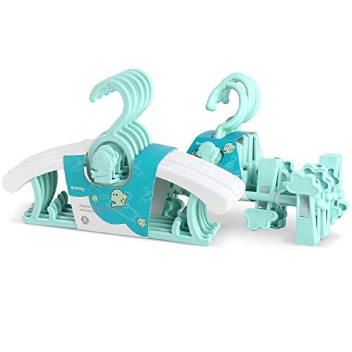 Bamny 10 Set mitwachsende Kinderkleiderbügel und hosenhalter platzsparend mit stapelbaren Delphin-Haken Rutschfeste Kleiderbügel+hosenhalter für Babys und Kleinkinder (Grün) -
