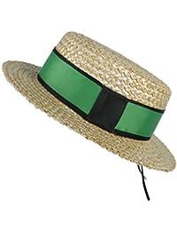 Gr 100% natürliche Weizen-Stroh-Strand-Sonnenhut der Frauen mit Flachem Schweinefleisch-Torten-Dame Fashion Boater Sunhat (Color : Green, Größe : 57-58cm)