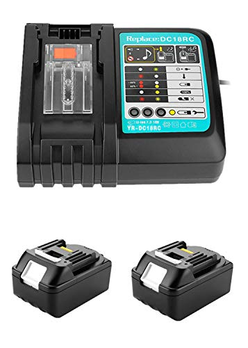 Lot de 2 batteries de rechange 18 V 5 Ah BL1850 BL1840 BL1830 BL1815 194204-5 avec interface USB 3 A pour chargeur rapide Makita DC18RC DC18RA DC18RD