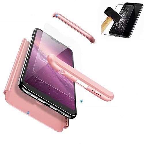HUOCAI für Huawei P20 Lite/Huawei Nova 3e Hülle 3 in 1 Ultra Dünner Schutz Hülle PC Handy Hülle Stoßfänger Full-Cover Case Matte Schutzkasten Gehärteter Glasfilm(Roségold)