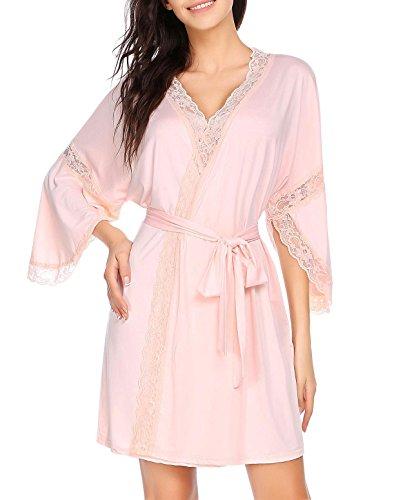 Damen Bademantel Baumwolle 3/4 Ärmel kimono Rosa Gr.XL (Ärmeln Kimono)
