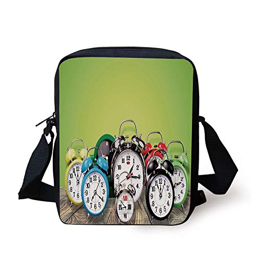 Clock Decor,A Group of Alarm Clocks on the Wooden Ground Digital Print Nostalgic Design,Lime Green Print Kids Crossbody Messenger Bag Purse -