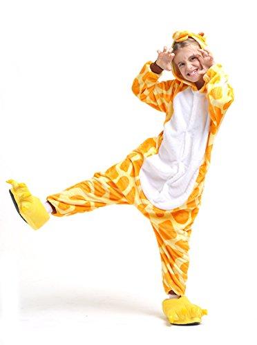 Giraffe Ganzkörper Tier-Kostüm für Kinder - Plüsch Einteiler Overall Jumpsuit Pyjama Schlafanzug - Orang/Weiß - Größe 110-122 (Hersteller Gr. 105)
