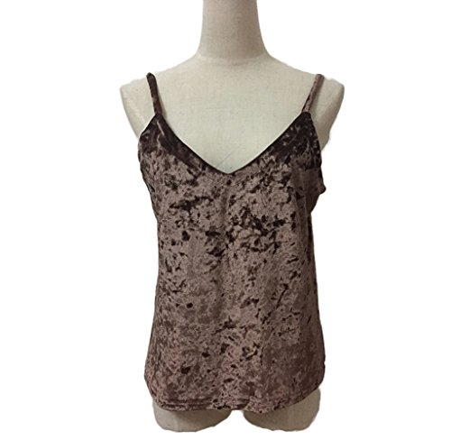 Amcool Samt Tank Top, Damen Westen Lose Camisole Westen Backless Rückenfrei Top Kaffee