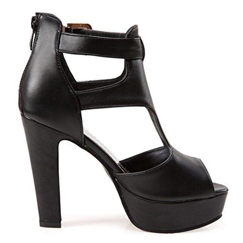 TAOFFEN Femmes Peep Toe Sandales Mode Bloc Plateforme Talons Hauts Sangle De Cheville Chaussures Noir