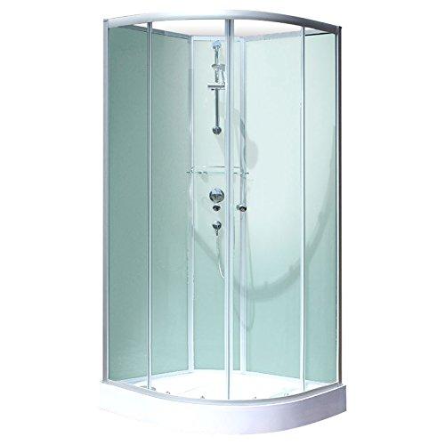 Schulte cabine de douche complète Corsica, cabine de douche intégrale arrondie, vert d'eau, 90x90 cm