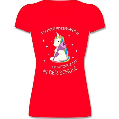 Einschulung - Einschulung Einhorn Tschüss Kindergarten - 116 (5-6 Jahre) - Rot - F288K - Kinder Mädchen T Shirt leicht tailliert