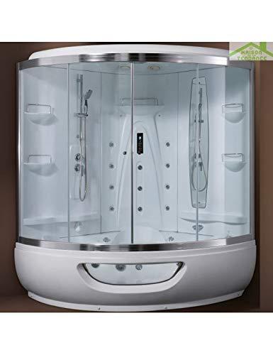 KARAG Cabine de Douche hydromassante avec hammam Elena 150x150 cm H 220 cm