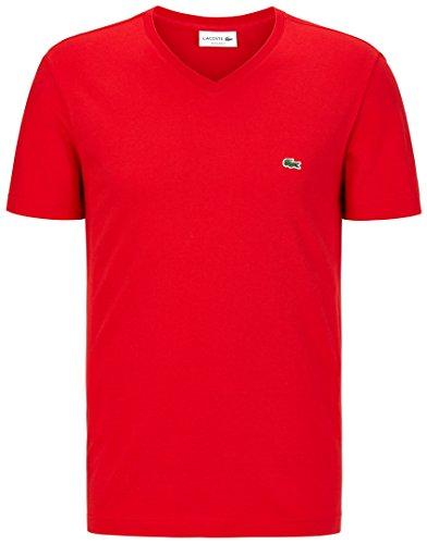 Lacoste TH2036 Klassisches Herren Basic T-Shirt, V-Ausschnitt, Kurzarm, Regular Fit, für Freizeit und Sport, 100% Baumwolle Rot (Red 240), EU 4 (T-shirts Herren Baumwolle Lacoste)