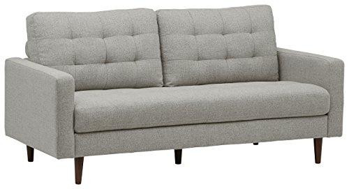 Amazon Marke -Rivet Cove Getuftetes Sofa im Stil der1950er Jahre, B 203cm, Hellgrau