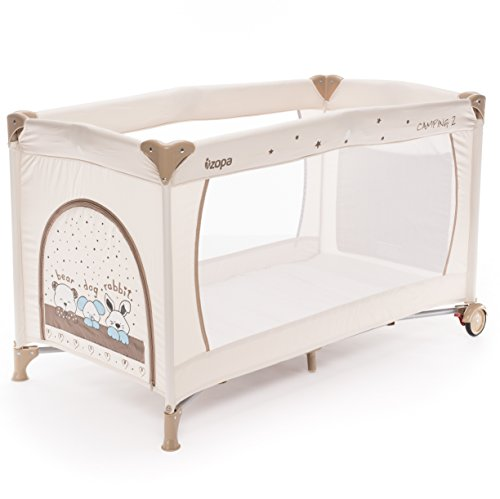 ZOPA Kinderreisebett Camping 2 - klappbarer Kinderreisebett mit Rädern - inkl. Reisebettmatratze - 120 x 60 cm - mit Schlupfloch und praktischer Ablagetasche (Animal Beige)