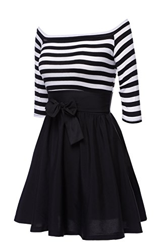 ZEARO Nouvelle Mode Mini Robe Moulante Off-épaule Manches 3/4 Rayure Summer Casual Stripes Jupe Sexy Noir