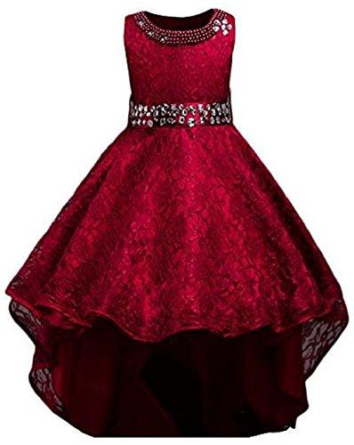 AGOGO Mädchen Blumenmädchenkleid, Kinder Lace Hochzeitskleid Tüll Festkleid Abendkleid Asymmetrisch Partykleid Vorne Kurz Hinten Lang Gr. 116 128 140 152 164 170 (164, burgund) (Kurz Rüschen Vorne)