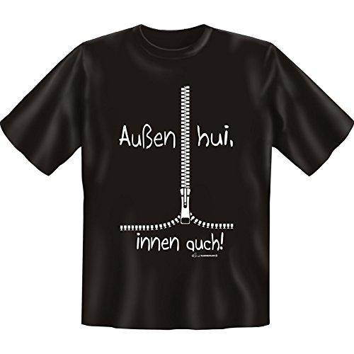 Lustiges Sprüche Fun T-Shirt mit MiniShirt - Außen hui, innen auch - für Damen Herren Farbe schwarz Schwarz
