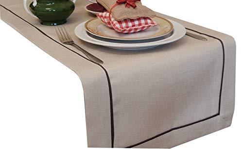 Tischläufer Art - Deco Leinenoptik Läufer Tischband Größe + Farbe wählbar Top Design (Cappuccino, 60 x 120 cm) (60 X 40 Tischdecke)