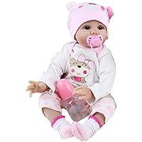 STRIR 22inch 55cm Muñeca de Silicona Realista Suave Suave Vinilo de Silicona Renacido Bebé Muñeca Muñeca Con Muñeca Magnética Reborn Baby Dolls Toy