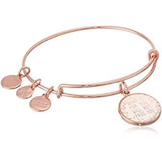 Alex and Ani Words are Powerful, What Is for You Will Not Pass You Expandable Charm Bracelet, Shiny Rose Gold-Tone