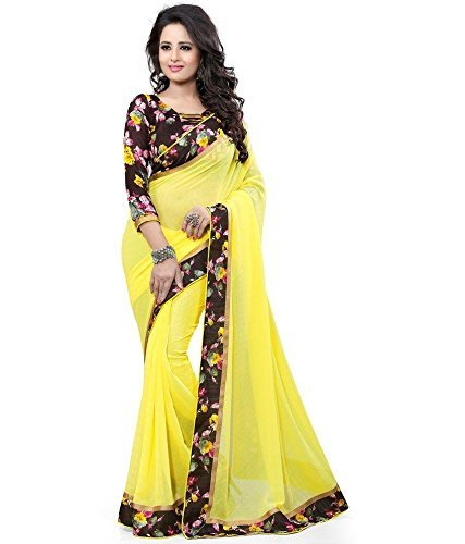 Sarees (Floral trendz Women's Plain Georgette Saree With Blouse Piece)  available at amazon for Rs.299