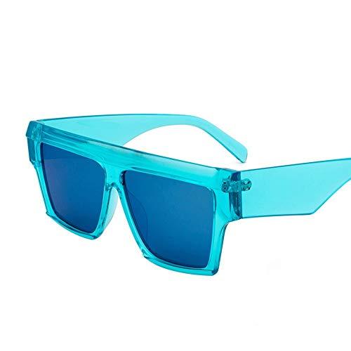 ETH Personality Box Sonnenbrillen Europa Und Den Vereinigten Staaten Strand Sonnenbrillen Retro Round Face Universal-Brille dauerhaft (Farbe : Blue)
