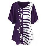 VEMOW Mode-Design Sommer Gnade Frauen Damen Bluse Musical Notes Print Tops Beiläufige Lose Kurzarm T-Shirt (Lila, EU-54/CN-4XL)