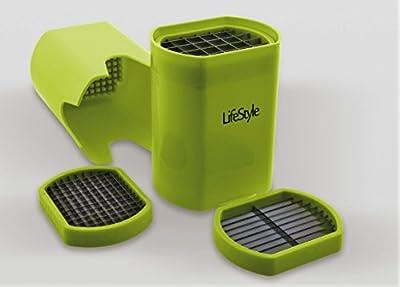 LIFESTYLE–Coupe-frites en plastique ABS et acier inoxydable , 3 types de coupe, vert