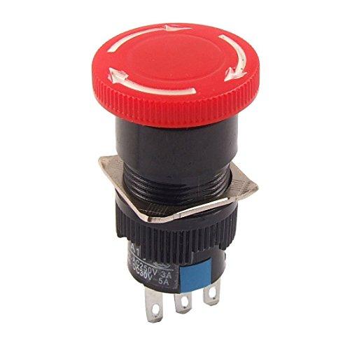 Preisvergleich Produktbild Not-Aus Schalter - TOOGOO(R) Roter Pilz DC 30V 5A AC 250V 3A Not-Aus Druckschalter