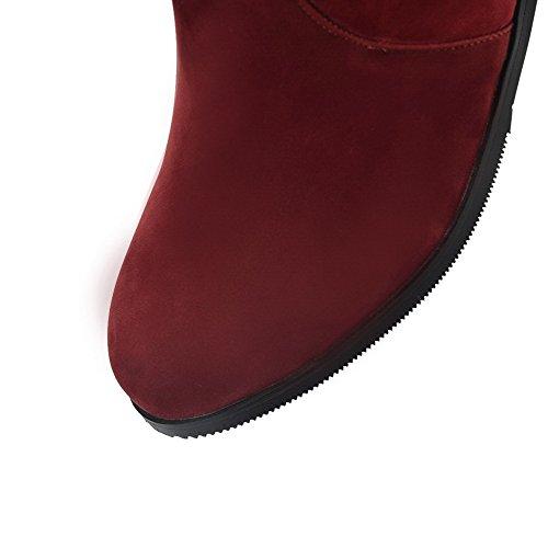 AgooLar Damen Mitte-Spitze Reißverschluss Niedriger Absatz Rund Zehe Stiefel Rot