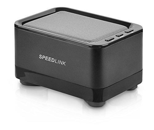 Speedlink Geovis Aktiver kabelloser Bluetooth v3.0-Lautsprecher (2 Watt RMS, 5 Std Akkulaufzeit, grauer Aluminiummantel, Freisprechfunktion)