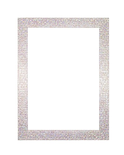 "Flat Bright/Mirror effect/ Mosaic Picture/Photo/Poster frame – With an MDF backing board - Ready to hang - With a High Clarity Styrene Shatterproof Perspex Sheet – Pearl White Bling - 18"" x 12"""