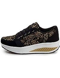 ZHRUI Zapatos Estampados de Mujer Zapatillas de Deporte con Cordones de Suela de Rocker Casual (