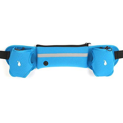 Outdoor idratazione corsa Belt - iParaAiluRy Unisex sweatproof riflettente espandibile fitness Pocket Workout cintura con due 290ml Bottiglia di acqua per il telefono, il denaro, carte e altri piccoli oggetti