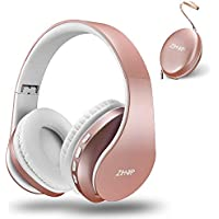 zihnic Bluetooth Over-Ear Headphones, Foldable Wireless and Wired Stereo Headset Micro SD/TF, FM for Cell Phone,PC,Soft Earmuffs &Light Weight for Prolonged Waring (Rose Gold)