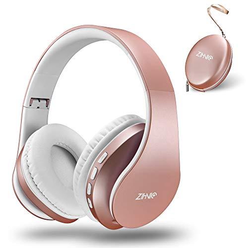zihnic Casque Bluetooth Casque Audio Stéréo sans Fil Pliable Léger Mini SD/TF Micro Intégré FM pour iPhone iPad Samsung PC -Or Rose