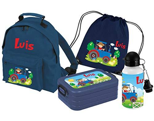 Mein Zwergenland Set 5 Kindergartenrucksack Classic und Brotdose Lunchbox Maxi, Turnbeutel + Trinkflasche mit Name Traktor, 4-teilig, Navy