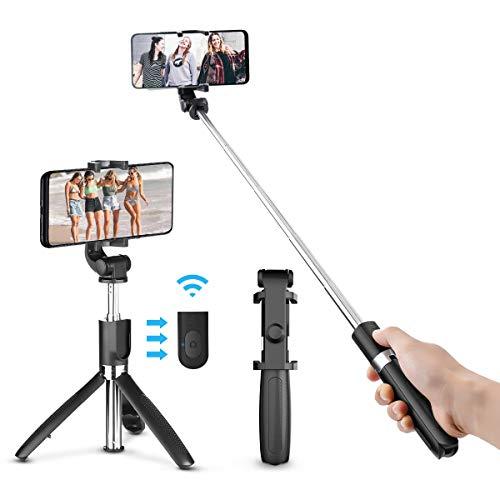 Palo Selfie con Trípode Bluetooth, ELEGIANT Mini Palo Stick para Autofoto Movil Extensible Deportivo de Control Remoto 3 en 1 Monopod con Obturador Rotación de 360 Gradospara Iphone Android Huawei Xiaomi Honor Samsung