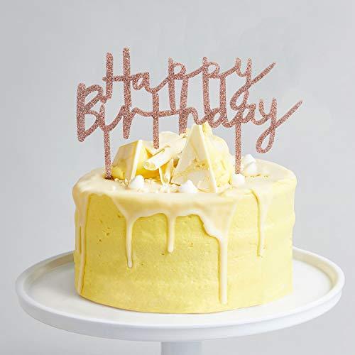 Ethelt5IV Rose Gold Happy Birthday Cake Topper Rosegold Glitter Geburtstagstorte Topper Rosegold Geburtstagstorte Dekorationen Rose Gold Glitter Cake