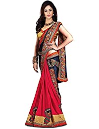 Zofey Designer Sarees Women's Georgette Embroidered Saree With Blouse Piece(Kukimore-SAREE01_Red_COLOUR)