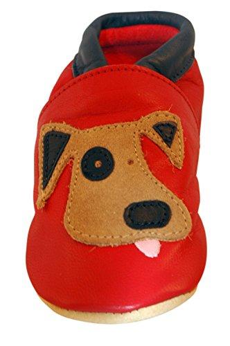 Chaussures artisanales Three Little Imps en cuir souple pour bambins - Chien espiègle sur fond rouge 18 - 24m (DGRN) rouge