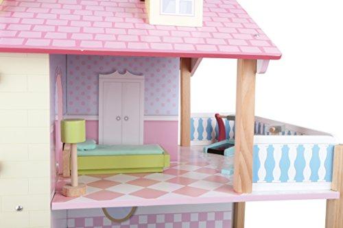 Puppenhaus Rosa Dach aus Holz, inkl. 21 farbenfrohen Möbelstücken, Spielspaß auf 3 Etagen, mit drehbarem Sockel, offene Seiten für einfaches Bespielen - 5