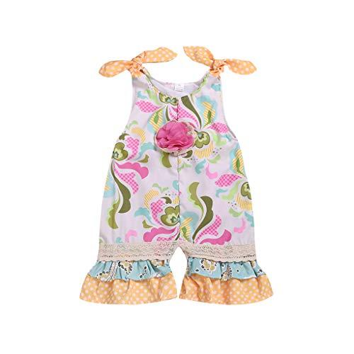 Covermason Baby Strampler Mädchen Sommer,Covermason Neugeborenes Säugling Baby Mädchen Strampler Tupfen Blume Gedruckt Ausgestellt Spitze Hose Kleidung Outfit